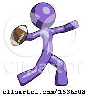 Purple Design Mascot Man Throwing Football