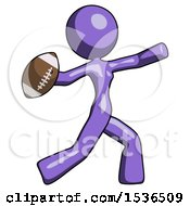 Purple Design Mascot Woman Throwing Football