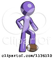 Purple Design Mascot Man Standing With Foot On Football
