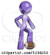 Purple Design Mascot Woman Standing With Foot On Football