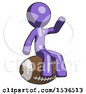 Purple Design Mascot Man Sitting On Giant Football