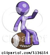 Purple Design Mascot Woman Sitting On Giant Football