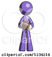 Purple Design Mascot Woman Giving Football To You