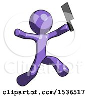 Purple Design Mascot Man Psycho Running With Meat Cleaver