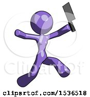 Purple Design Mascot Woman Psycho Running With Meat Cleaver