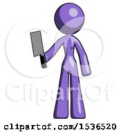 Purple Design Mascot Woman Holding Meat Cleaver