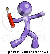 Purple Design Mascot Man Throwing Dynamite