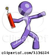 Purple Design Mascot Woman Throwing Dynamite