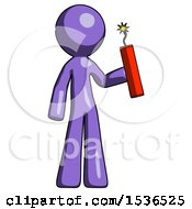 Purple Design Mascot Man Holding Dynamite With Fuse Lit