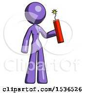 Purple Design Mascot Woman Holding Dynamite With Fuse Lit