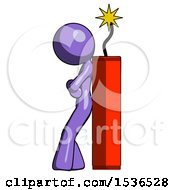 Purple Design Mascot Woman Leaning Against Dynimate Large Stick Ready To Blow