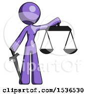 Purple Design Mascot Woman Justice Concept With Scales And Sword Justicia Derived