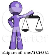 Purple Design Mascot Man Holding Scales Of Justice