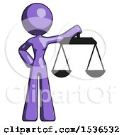 Purple Design Mascot Woman Holding Scales Of Justice