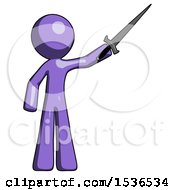 Purple Design Mascot Man Holding Sword In The Air Victoriously