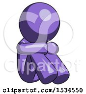 Purple Design Mascot Man Sitting With Head Down Facing Angle Right