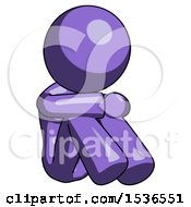 Purple Design Mascot Woman Sitting With Head Down Facing Angle Right