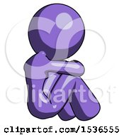 Purple Design Mascot Woman Sitting With Head Down Back View Facing Right