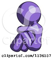Purple Design Mascot Woman Sitting With Head Down Back View Facing Left