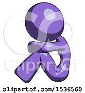 Purple Design Mascot Woman Sitting With Head Down Facing Sideways Left