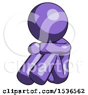 Purple Design Mascot Woman Sitting With Head Down Facing Angle Left