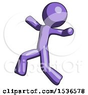 Purple Design Mascot Man Running Away In Hysterical Panic Direction Left