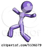 Purple Design Mascot Woman Running Away In Hysterical Panic Direction Left