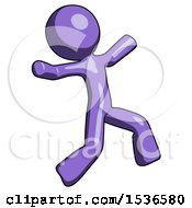 Purple Design Mascot Man Running Away In Hysterical Panic Direction Right