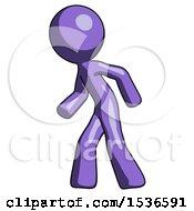 Purple Design Mascot Man Suspense Action Pose Facing Left