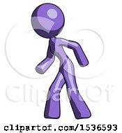 Purple Design Mascot Woman Suspenseaction Pose Facing Left