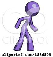 Purple Design Mascot Woman Suspense Action Pose Facing Right