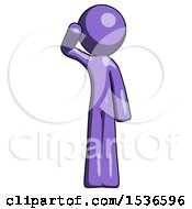 Purple Design Mascot Man Soldier Salute Pose