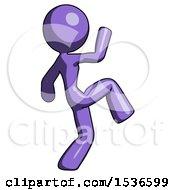 Purple Design Mascot Woman Kick Pose Start