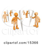 Group Of Orange People Holding Their Own Pens As A Metaphor For Writing In A Community Forum Clipart Illustration Image