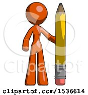 Orange Design Mascot Woman With Large Pencil Standing Ready To Write