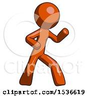 Orange Design Mascot Man Martial Arts Defense Pose Right