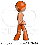 Orange Design Mascot Woman Turned Right Front View