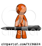 Orange Design Mascot Man Weightlifting A Giant Pen