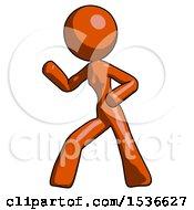 Orange Design Mascot Woman Martial Arts Defense Pose Left