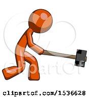 Orange Design Mascot Man Hitting With Sledgehammer Or Smashing Something