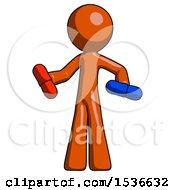 Orange Design Mascot Man Red Pill Or Blue Pill Concept