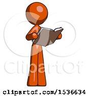 Orange Design Mascot Woman Reading Book While Standing Up Facing Away