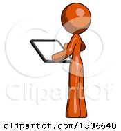 Orange Design Mascot Woman Looking At Tablet Device Computer With Back To Viewer