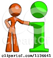 Orange Design Mascot Woman With Info Symbol Leaning Up Against It