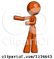 Orange Design Mascot Woman Presenting Something To Her Right