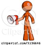 Orange Design Mascot Woman Holding Megaphone Bullhorn Facing Right