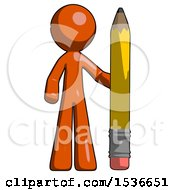 Orange Design Mascot Man With Large Pencil Standing Ready To Write