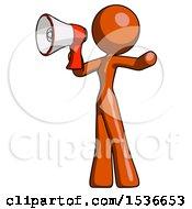 Orange Design Mascot Woman Shouting Into Megaphone Bullhorn Facing Left