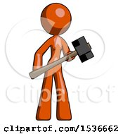 Orange Design Mascot Woman With Sledgehammer Standing Ready To Work Or Defend