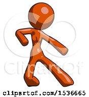 Orange Design Mascot Woman Karate Defense Pose Right